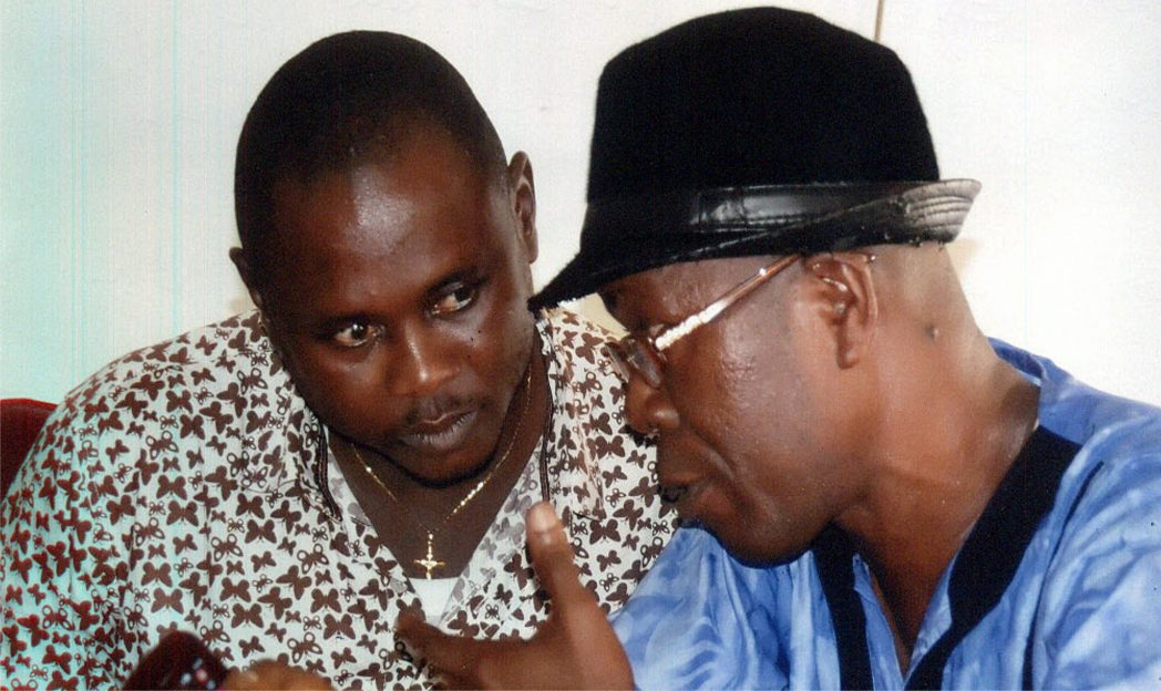 Chairman, Caretaker Committee, Abua/Odual Local Government Area, Rivers State, Hon Gift Igoma Loveday (left), chatting with Chairman, ABOLGA Journalists Forum, Mr  Memoye Oghu, during a courtesy visit to the CTC Chairman in Abuah, recently. Photo: Ibioye Diama