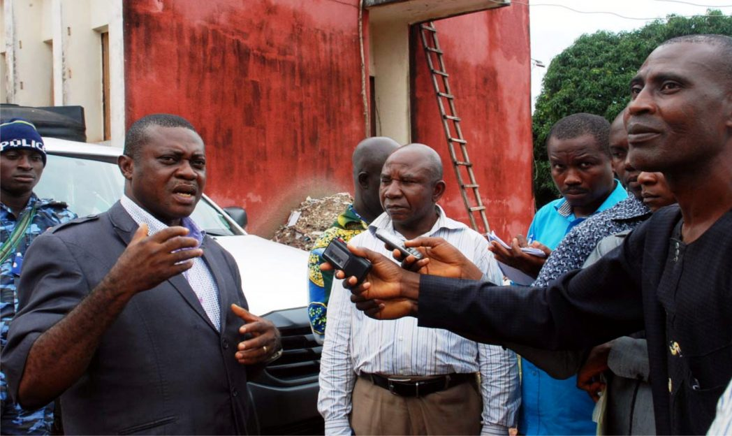 Pdp chairmanship candidate for Ezeagu local government area of Enugu State, Mr Emeka Ozoagu (left), addressing newsmen after screening by Enugu State Independent Electoral Commission in Enugu, recently.