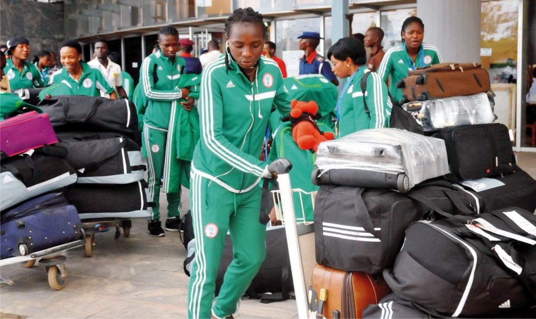 Victorious Falconets from Fifa U-20 Women World Cup arriving Nnamdi Azikiwe International Airport in Abuja recently.
