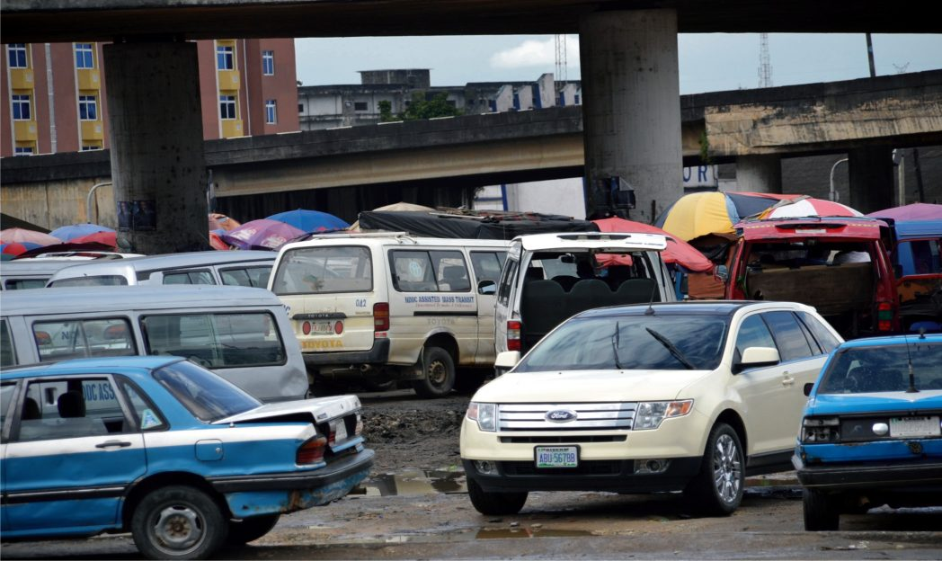 Vehicles Parked at a bus station in Port Harcourt