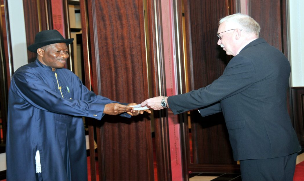 President  Goodluck Jonathan (left), receiving letter of credence from the new Ambassador of Denmark to Nigeria, Mr Torben Gettermann in Abuja recently