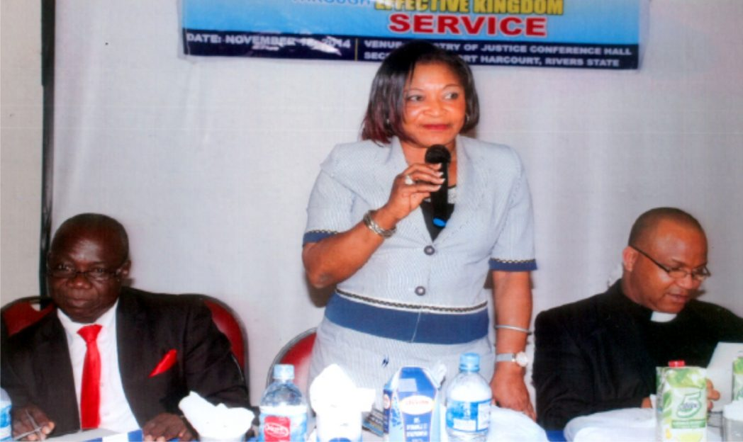 Director, Special  Duties, Office of Head of Service, Dame Josephine O. Chukuigwe, representing Rivers State Head  of Service,  making a speech during  the 2014 National Conference on Church Managment Support Ministry in Port Harcourt recently. With her are Prof (Rev) Alex Atawa Akpodiete  (right) and President, Church Management Support Ministry, Dr. Kayode Nissi.