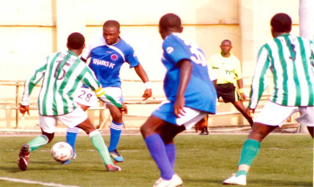 Dolphins FC of Port Harcourt in an action during a league match with Sharks of Port Harcourt.