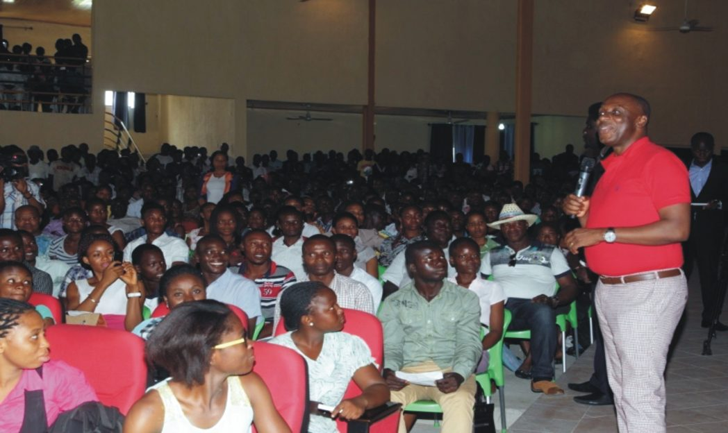 Rivers State Governor, Rt. Hon. Chibuike Amaechi addressing students of the Ignatius Ajuru University of Education during an interactive session at the campus in Port Harcourt.