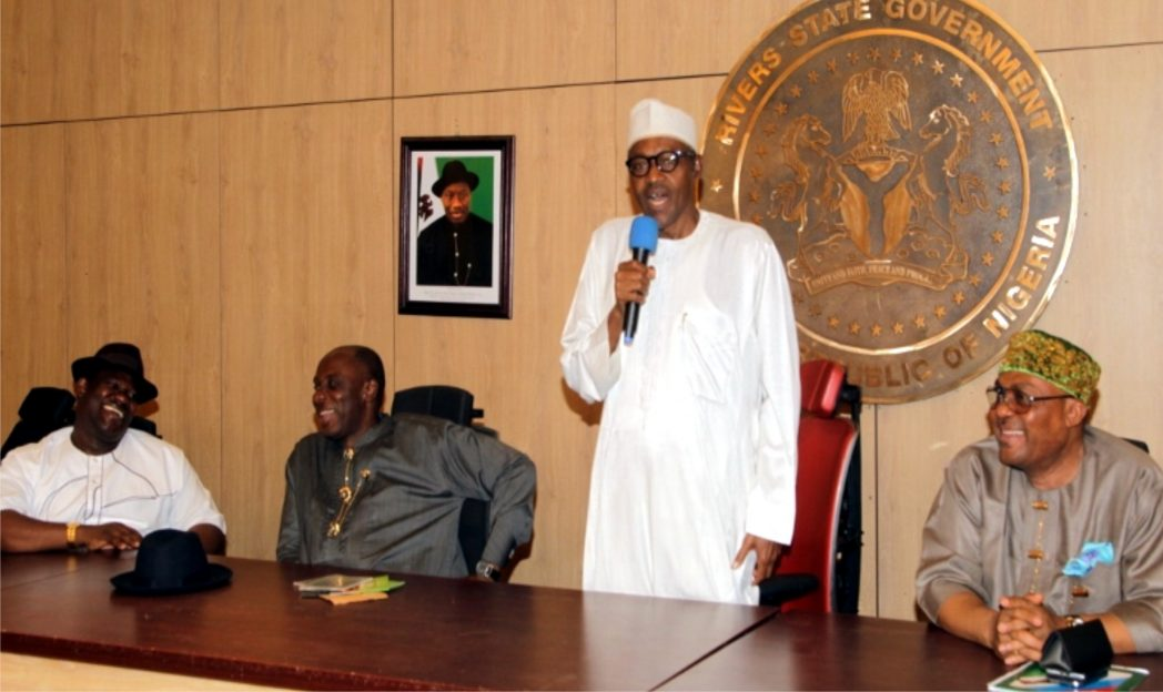 From right to left, Chairman, APC, Rivers State, Hon. Davies Ikanya, General Muhammadu Buhari (rtd), Presidential Aspirant of All Progressives Congress (APC), Rivers State Governor, Rt. Hon. Chibuike Rotimi Amaechi and Deputy Governor, Engr. Tele Ikuru appreciating Buhari's comments during a meeting with delegates at Government House, Port Harcourt, ahead of the Presidential Primaries.