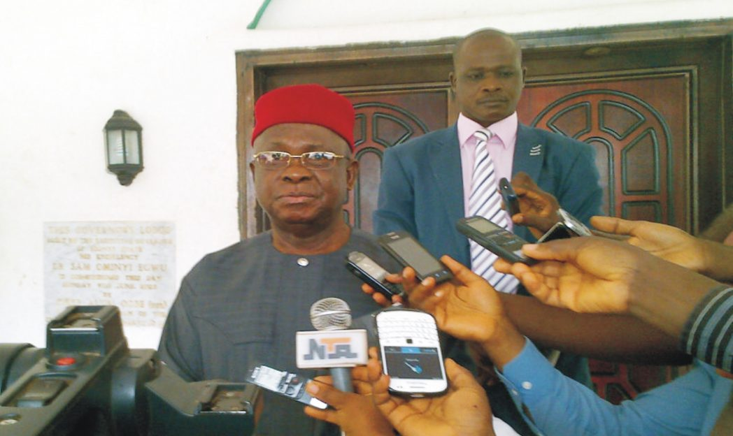 Governor Martin Elechi of Ebonyi addressing newsmen in Abakaliki on his Mediation in the crisis rocking the State House of Assembly, recently
