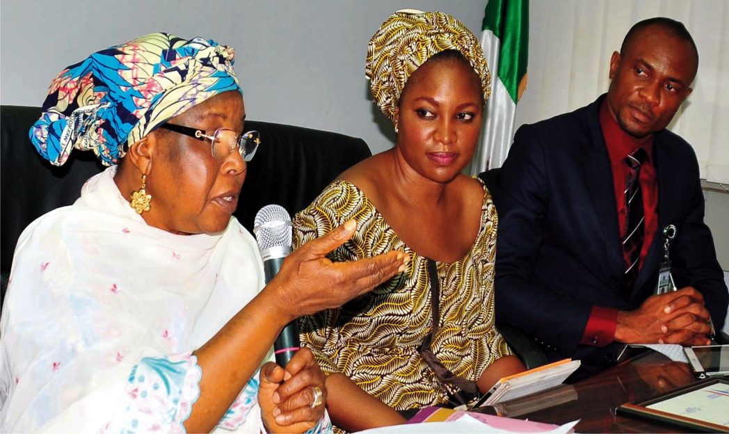 L-R: Minister of Women Affairs, Hajiya Zainab Maina, President, Quintessential Business Women Association, Mrs Shimite Katung and Executive Secretary, Association of Non Bank Micro Finance Institutions of Nigeria, Mr Godbless Safugha, during the visit of members of Quintessential Business Women Association to the Minister  in  Abuja, recently