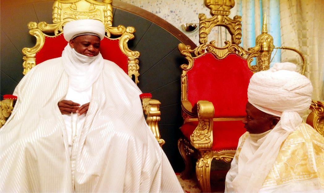 Sultan of Sokoto, Alhaji Sa'ad Abubakar 111 (left), with former Mininister of Education, Alhaji Yarima Abubakar, who paid him a visit in Sokoto recently.