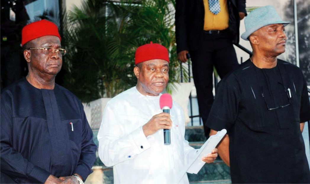 L-R: Governors  Martin Elechi of Ebonyi, Theodore Orji of Abia State and Anambra State Deputy Governor, 'Nkem Okeke, addressing newsmen after a South-East Governors forum in Enugu recently.