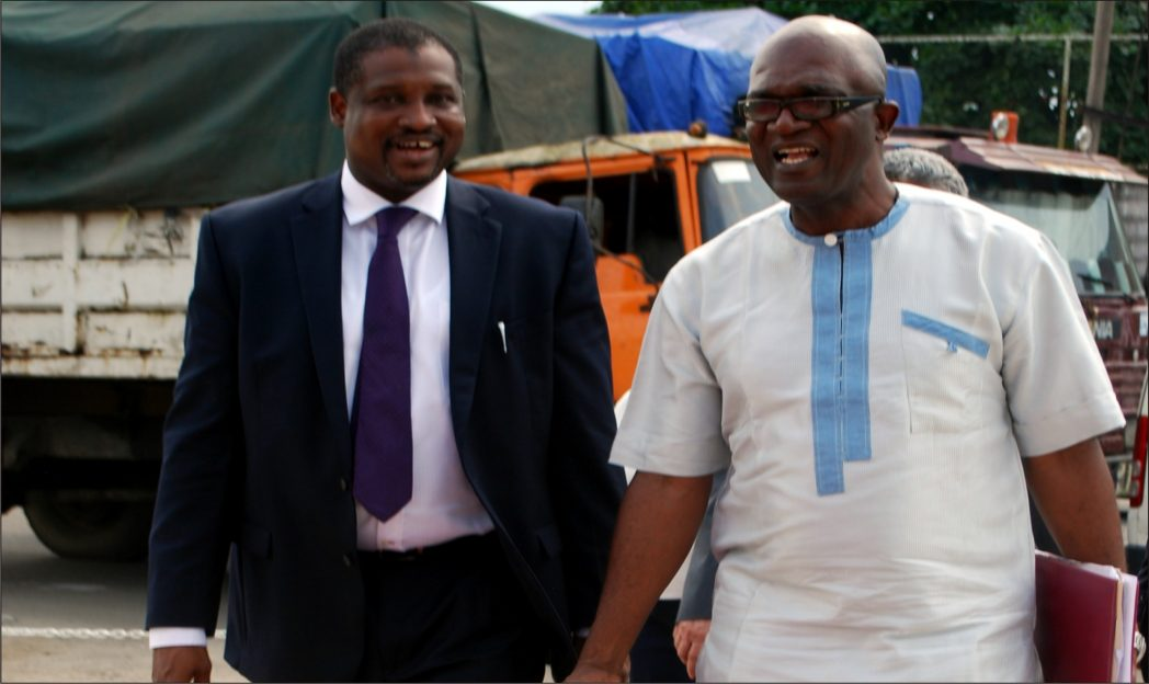 Dr Abba Ibrahim, Commissioner, Government and Consumer Affairs, NERC (left) on arrival with Johnkin Achiefe, Director Distribution Services, PHED at the commissioning of the New Customer Service Centre in Port Harcourt recently.