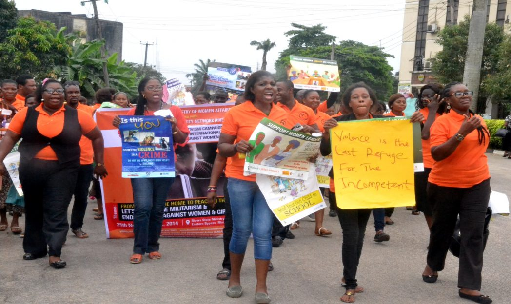 Cross section of women journalists at a road walk to mark  international day for the elimination of violence against women in Port Harcourt recently. Phot: Ibioye Diama