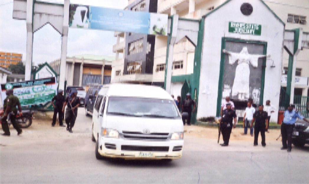 A team of policemen at the Rivers State Judiciary complex in Port Harcourt, recently. Photo: Chris Monyanaga