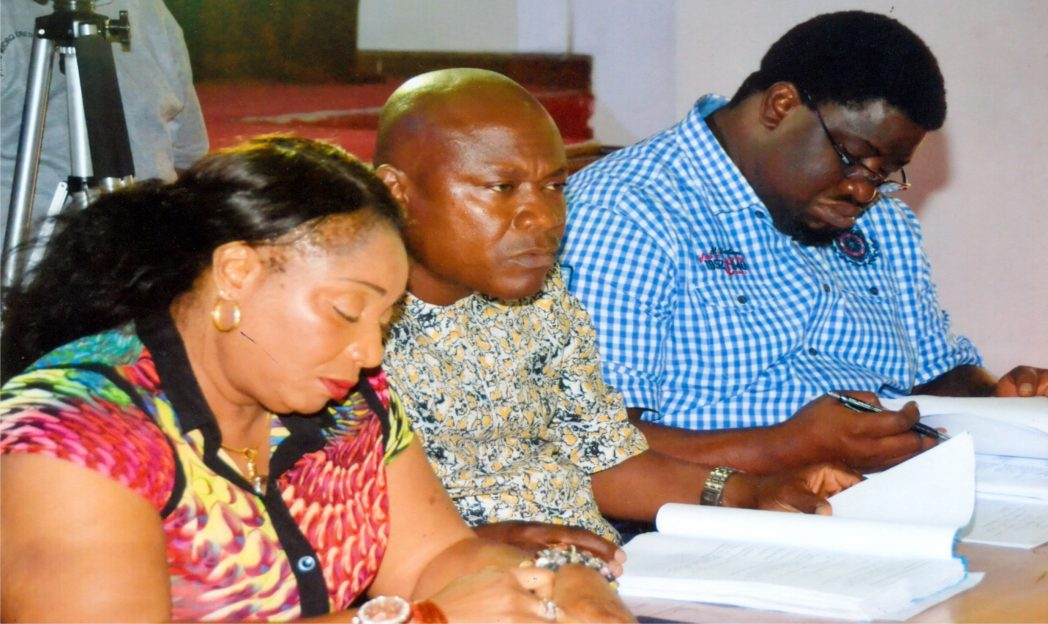 L-R: Members of the Rivers State House of Assembly Adhoc Committee On the Investigation of the State Primary Healthcare Management Board, Hon Irene Inimgba, Hon Okechukwu Akara and Hon Benibo Anabraba, during a meeting in Port Harcourt, recently. Photo: Chris Monyanaga