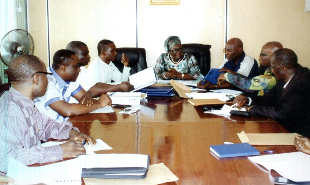 Permanent Secretary Ministry of Information and Communication Rivers State, Mrs Cordelia Peterside (middle) with Directors of the Ministry in the bidding of 2015 Calender/Diaries at the Ministry on 5th December 2015. Photo: Egberi A. Sampson