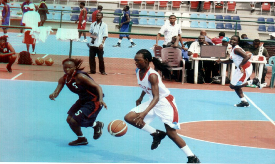 Female basketball players in action