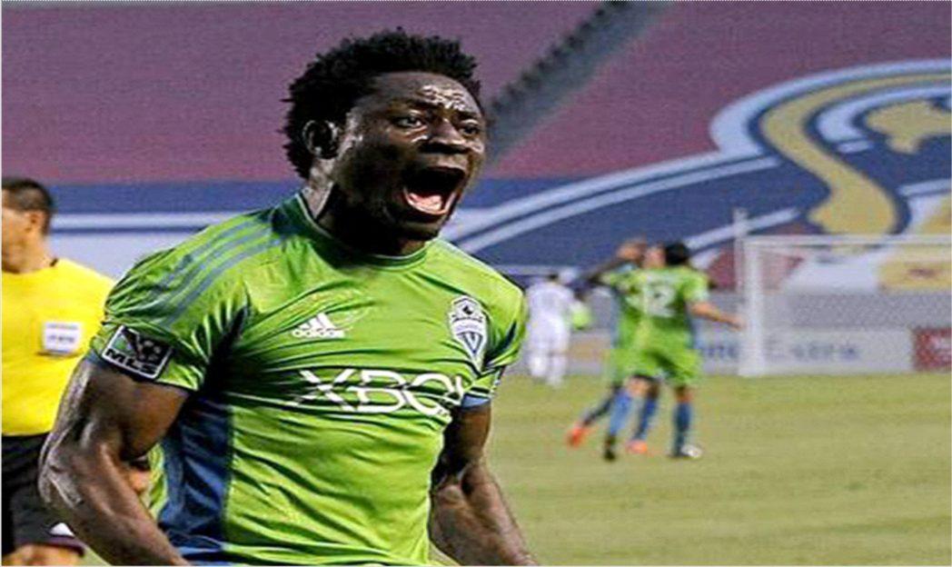 Obafemi Martins in a happy mood