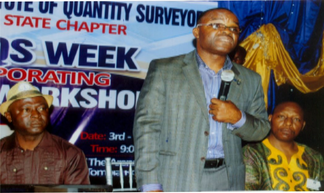 Secretary General, NIQS, Femi Balogun (middle) fielding question from participants during the Nigerian Institute of Quantity Surveyors, Rivers State Chapter 2014 Qs week. With him are Rivers State Chairman, NIQS , Mr Abayomi I. Anifowose (left) and Vice Chairman, NIQS, Rivers State Chapter, Mr. Edighoman Isaac Ewa (right). Photo: Egberi A. Sampson