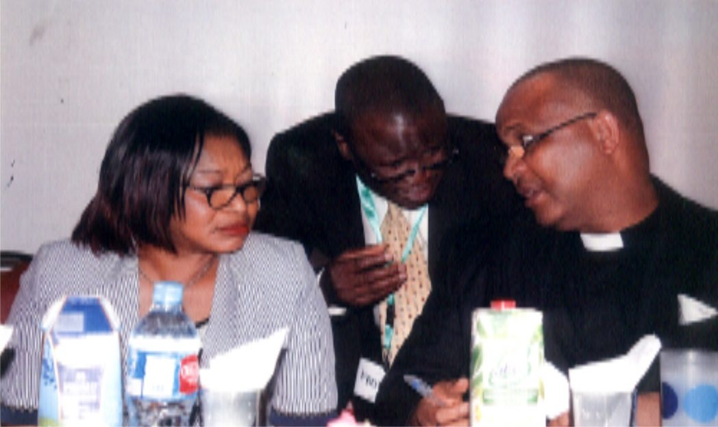 L-R:  Representive of Rivers State Head of Service/ Director, Special Duties, Office of Head of Services, Dame Josephine .O. Chukuigwe, Snr. Pastor Discovery House Christian Church, Pastor Isaac Olayinka, Prof. (Rev.) Alex Atawa Akpodiete, during 2014 National Conference on church management support ministry in Port Harcourt,  recently. Photo: Egberi .A. Sampson