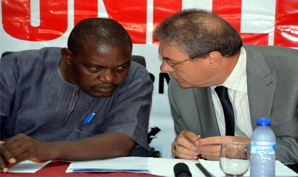 European Union delegate to Nigeria and ECOWAS, Mr Alen Monday (right) exchanging views with the Country Director, Search for Common Ground, Mr Chom Bagu, during the press conference organised by the group, in Port Harcourt, recently. Photo: Nwiueh Donatus Ken