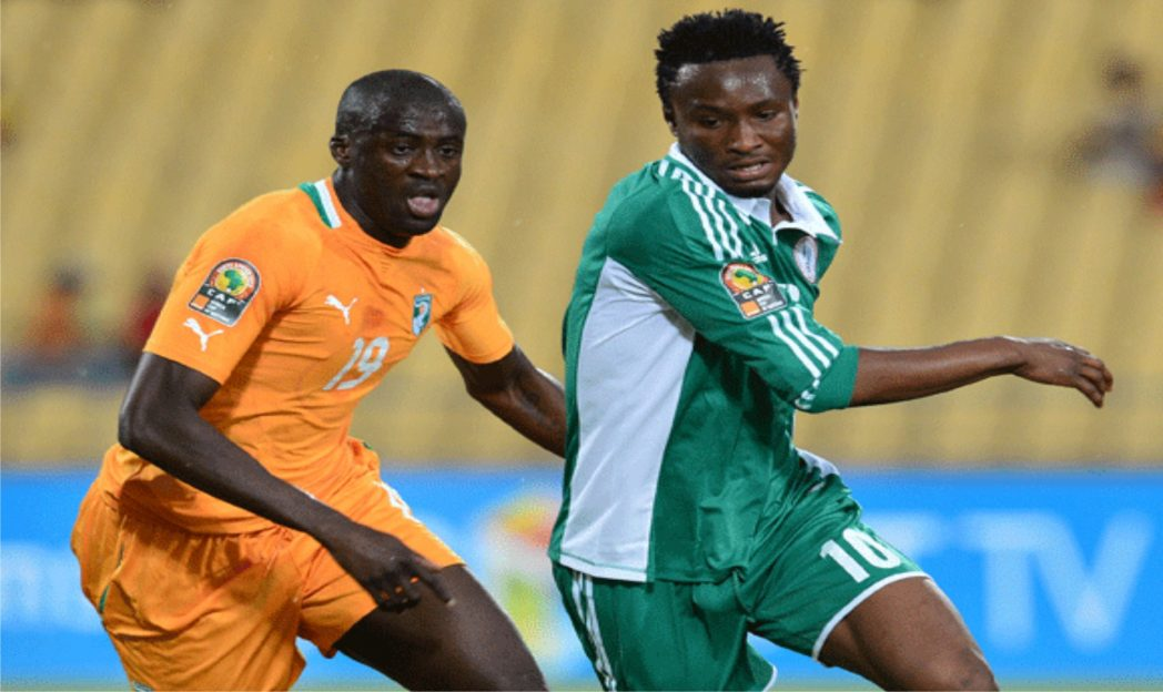 Yaya Toure of Cote d'Ivoire (left) and Nigerian Mikel Obi when both countries clashed at the 2013 AFCON  in South Africa