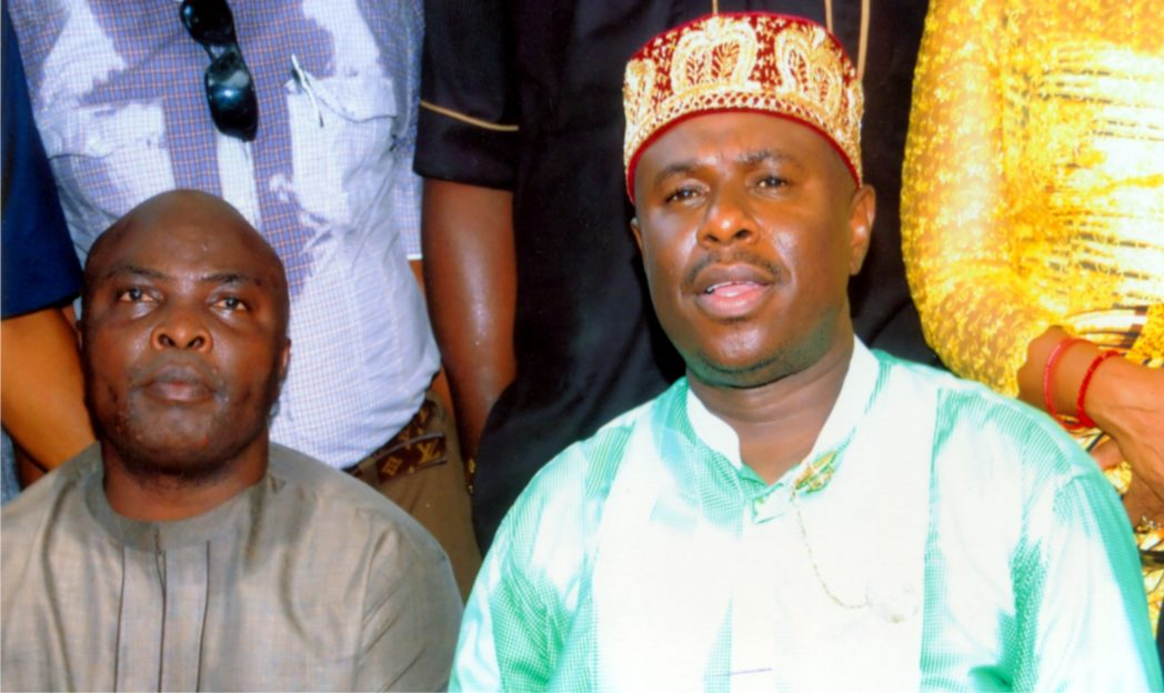 Rivers State APC governorship candidate, Hon. Dakuku Peterside (right), addressing newsmen after collecting his nomination and intent forms at the party secretariat, Port Harcourt, last Thursday. With him is a member of the House of Representatives, Mr. Honourable Asita recently. Photo: Obinna Prince Dele