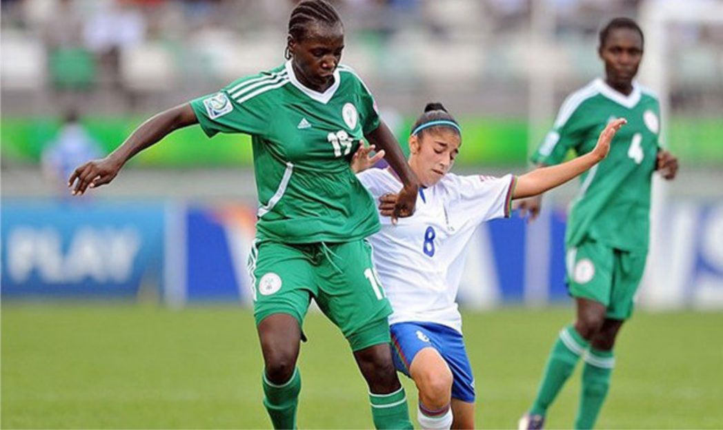 Nigeria's women footballers in contest with a German opponent in a previous World Cup