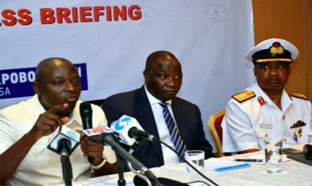 L-R: Director General, Nigerian Maritime Administration and Safety Agency (NIMASA), Dr. Ziakede Patrick Akpobolokemi; Executive Director, Maritime Safety and Shipping Development, Capt. Ezekiel Bala Agaba and Commander, Maritime Guard Command, NIMASA, Commodore Ebony Aneke at the World Press Conference in Lagos recently.