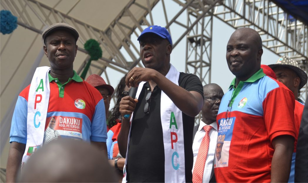 L-R: Rivers State All Progressives Congress governorship flag bearer, Dr. Dakuku Peterside, Rivers State Governor, Rt. Hon. Chibuike Rotimi Amaechi and running mate to APC flagbearer, Asita Honourable Asita, during the flag-off of the APC governorship campaign rally in Port Harcourt, on Monday.  Photo: Ibioye Diama