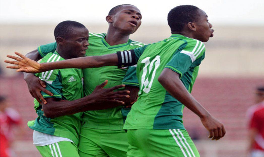 2014/15 Set of Golden Eaglets celebrating a goal during the qualifying stage of the 2015 CAF U-17 championship
