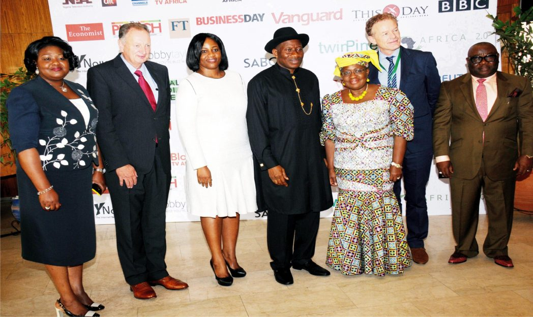 From Left: Chairman, World Pension summit  for Africa, Mrs Grace Usoro; Co-Chairman, World Pension Summit, Mr Harry Smorenberg; acting Director-General of  PENCOM, Ms Chinelo Anohu-Amazu; President Goodluck Jonathan; Minister of  Finance, Dr Ngozi Okonjo-Iweala; Co-Chairman, World Pension Summit, Mr Eric Eggink and Chairman, Senate Committee on PENCOM, Sen. Aloysius Etuk, at the World Pension Summit in Abuja.