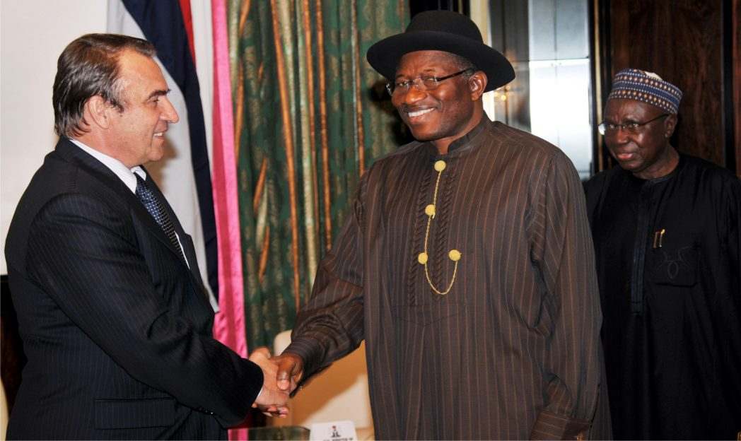 L-R: Out-going Ambassador of Sebia, Mr Rifat Rondic; President Goodluck Jonathan and the Minister of Foreign Affairs, Amb. Aminu Wali,  during the visit of the out-going Ambassador to the Presidential Villa Abuja, recently.