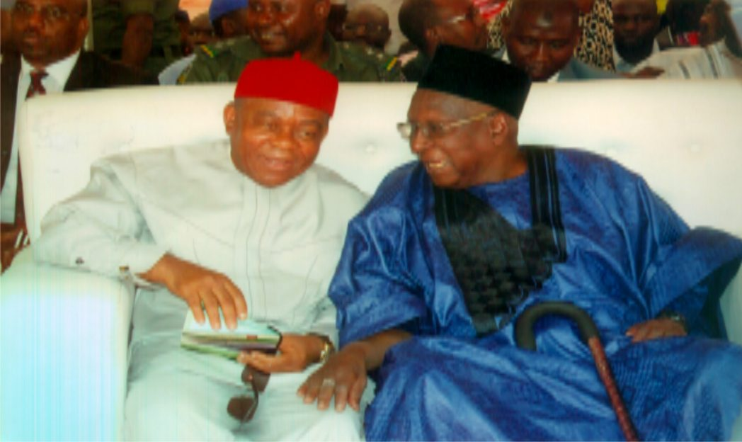 Board Chairman, Nigerian Railway Corporation, Alhaji Bamanga Tukur (right) with Abia State Governor, Theodore Orji, during the official commissioning of Nigeria Railway Corporation, in Port Harcourt, recently.
