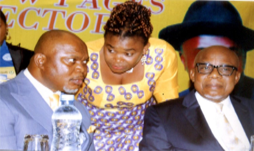 L-R: Commissioner for Commerce and Industry, Rivers State, Hon. Chuma .C. Chinye, with his Perm Sec., Ms. Kadilo Brown, Chairman of the occassion and Managing Director, Wel-ted Ltd. Mr. Perro Egbe at the public presntation of the Yellow Pages Directory, Organised by Min of Commerce and Industry at Atlantic Hall, Hotel Presidential Port Harcourt, recently. Photo: Egberi .A. Sampson