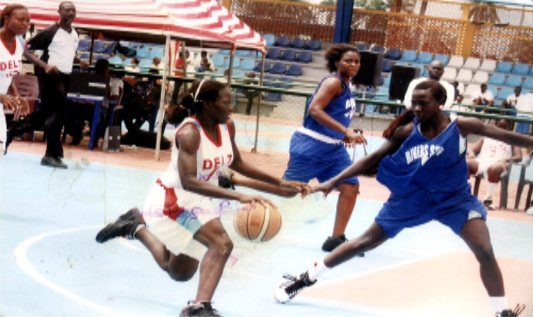 Basketball players struggling for honours during a national event in Port Harcourt, Rivers State