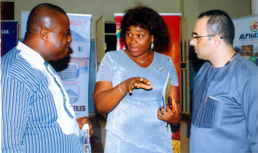 Representative of Rivers State Governor and Permanent Secretary, Rivers State Ministry of Commerce and Industry, Ms Kadilo Brown, with Treasurer of MAN, Chief Nabil Sale (right) and Engr Jubril Balogun, during the AGM of MAN in Port Harcourt, recently. Photo: Egberi A. Sampson.