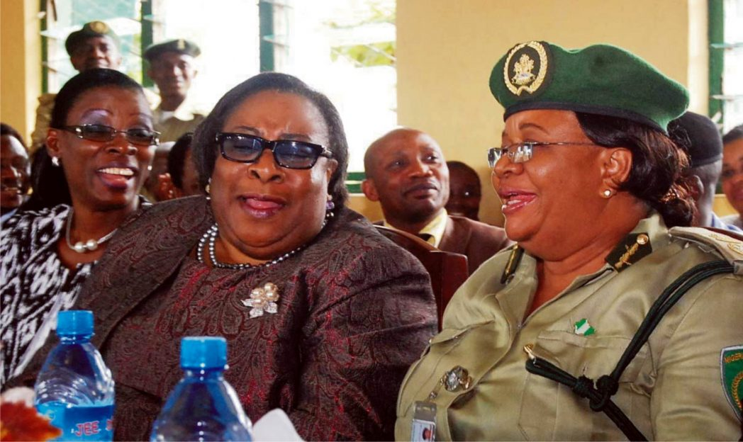 L-R: Lagos High Court judge, Justice Toyin Ipaye, Chief Judge of Lagos State, Justice Ayo Philips and Controller of Prisons, Lagos State Command, Mrs Cathrine Ononye, during the visit of Lagos Chief Judge to Kirikiri Minimum Prisons in Lagos, recently. Photo: NAN