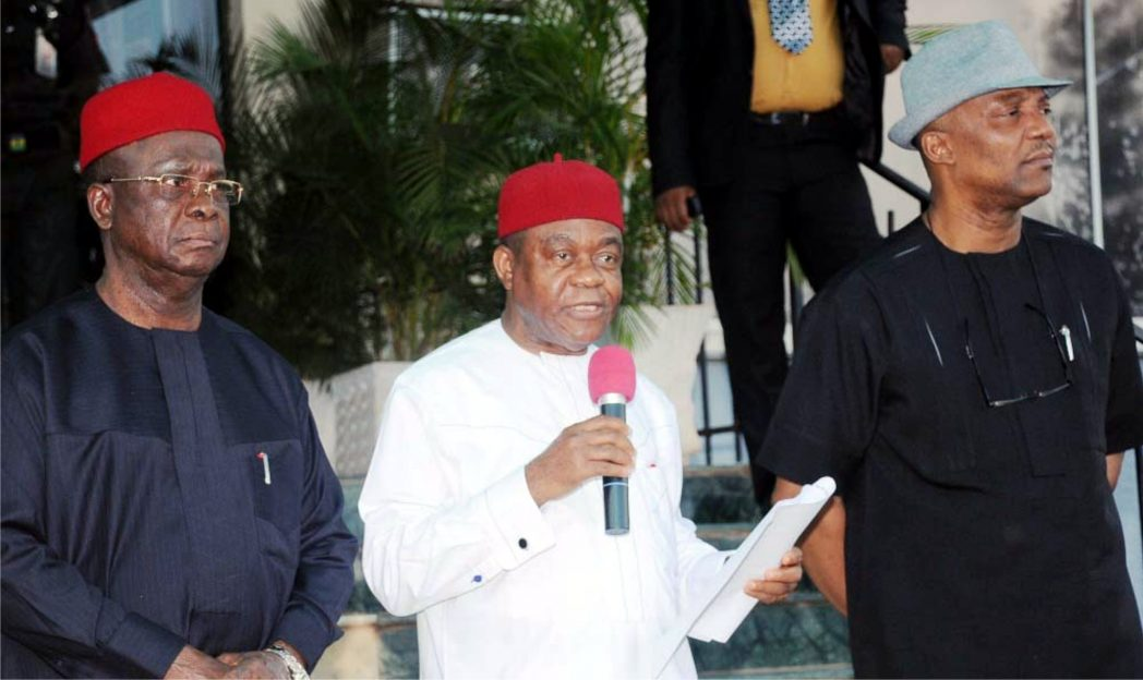 L-R:: Governors  Martin Elechi of Ebonyi State, Theodore Orji of Abia State and Anambra State Deputy Governor, Nkem Okeke, addressing newsmen after South-East Governors Forum in Enugu recently.