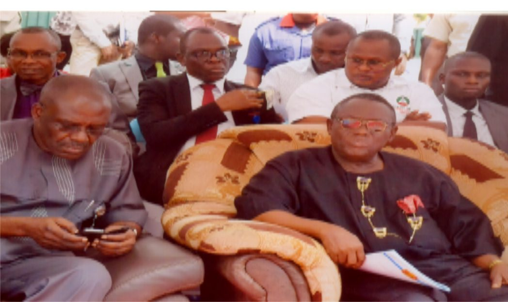 Chairman Rivers State Civil Service Commission, Sir Ngo Martyns-Yellowe (right) and Rivers State Head of Service, Barr. Longjohn Samuel during 2015 New Year prayer/dedication service at State Secretariat complex, Port Harcourt, yesterday