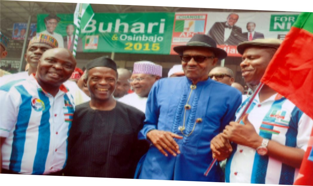 Gen. Muhamadu Buhari (2nd right) APC Presidential flag bearer  and his runing mate Prof. Yemi Osinbanjo, flanked by the Rivers State governorship flagbearer of the party Dr Dakuku Peterside and his running mate, Hon Asita Honourable at the APC Presidential rally held on Tuesday 6th January 2015 in Port Harcourt. Photo: Ibioye Diama