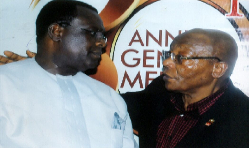 Ist Vice Chairman, Manufacturers Association of Nigeria, Rivers/Bayelsa States branch, Hon. Charles Beke (left) exchanging pleasantries with Hon. member, MAN, Engr. J.O. Ladapo, during a press briefing on the 30th General Meeting of MAN in Port Harcourt, recently. Photo:  Egberi A. Sampson