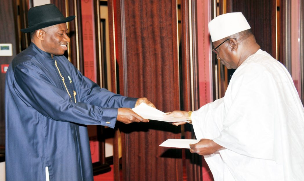 President  Goodluck Jonathan (left) receiving letter of credence  from the new Ambassador of Guinea Conakry, Mr Gaoussou Toure, in Abuja recently