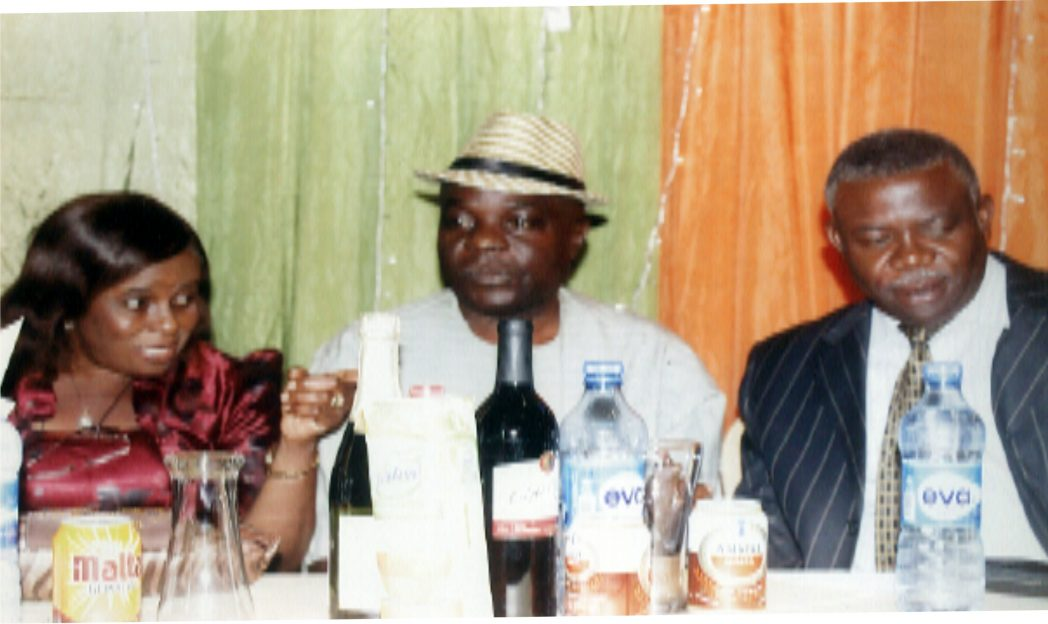 L-R Board member representing Ministry of Transport,  Mrs. Boma Abolo,  member of the Board (RIRS) Lambert Obinwoh, with Board member representing Rivers East RIRS, Sir Nelson Wali during the media dinner organised by (RIRS)  in  Port Harcourt, recently. Photo: Egberi A.. Sampson