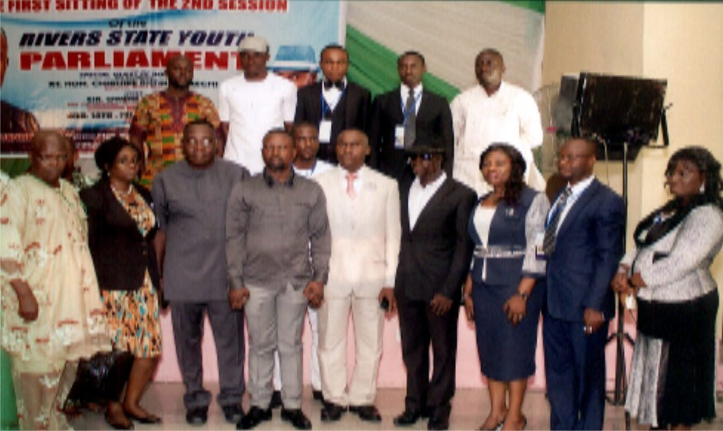 Rivers State Commissioner for Youth Development, Sir Owene Wonodi (middle), Speaker Rivers State Youth Parliament  Hon Ijork Emmanuel (left) and  members of the state executive council during the first sitting of the second session of Rivers State Youth Parliament.