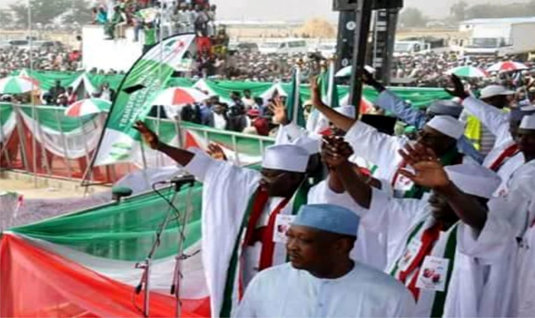 PDP Presidential candidate, Dr Goodluck Jonathan (left) and other party chieftains  at a campaign rally in Gusau, Zamfara State, yesterday.
