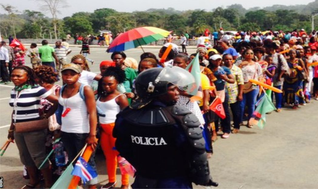 Fans queuing to enter the stadium at the on-going 2015 African Cup of Nations in Equatorial Guinea.