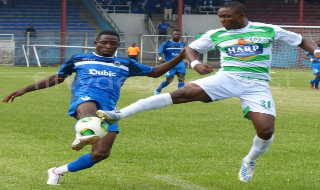 An encounter between Dolphins FC and Enyimba International in the Glo Premier League at the Liberation Stadium, Port Harcourt, last season.