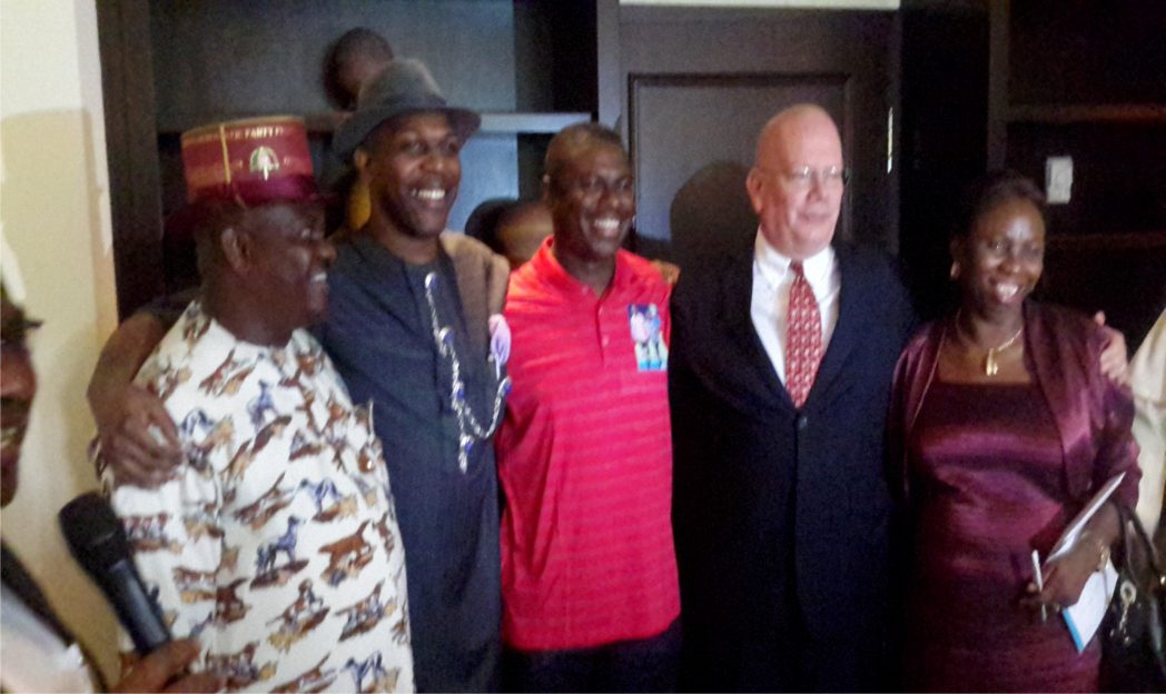 R-L: Resident Electoral Commissioner, Independent National Electoral Commission (INEC), Dame Gesila Khan, United States Ambassador to Nigeria, James Entwistle, Governorship candidates of APC, Dr Dakuku Peterside, Labour Party, Prince Tonye Princewill and PDP, Chief Nyesom Wike shortly after signing the non-violence pact ahead the 2015 general elections, in Port Harcourt, yesterday