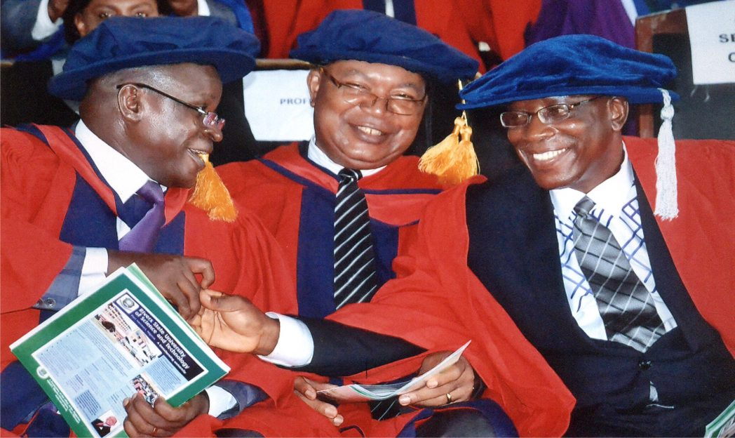 L-R: Dean, Faculty of Managment Sciences Ust Prof. A. J. Toby, Dean, Faculty of Science, Prof. I. K.E Ekweozor and Dean, Faculty of Technical and Science Education Prof M. j. Ahiakwo during 2014/2015 matriculation of RSUST, in Port Harcourt last Wednesday. Photo: Egberi A. Sampson