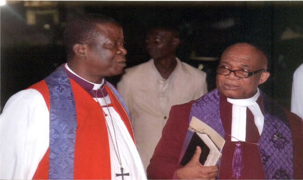 Archbishop, Metropolitan and Primate of all Nigeria Anglican Communion, His Grace, Most Rev. Nicholas D. Okoli (left) with Prelate and Moderator, General Assembly of Presbyterian Church of Nigeria, His Eminence, Most Rev. Emele Mba Urah, during the inaugural meeting of the Spiritual Advisory Council, National Heads of Churches,in Port Harcourt, recently.Photo: Egberi A. Sampson