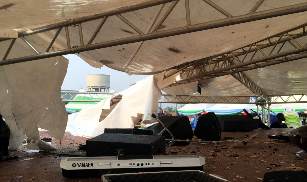 Part of the canopies and PAS equipment destroyed by gunmen, during the attacks at APC rally venue in Okrika, last Saturday